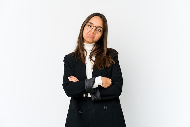 Young mixed race business woman isolated on white background who is bored, fatigued and need a relax day.
