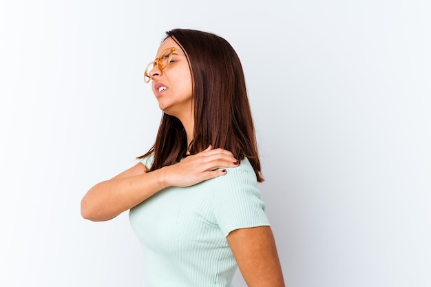 Young mixed race woman isolated having a shoulder pain.
