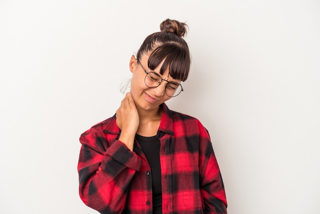 Young mixed race woman isolated on white background  having a neck pain due to stress, massaging and touching it with hand.