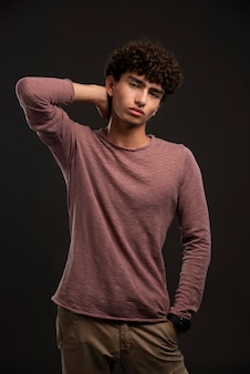 Young model in casual fall winter outfits.