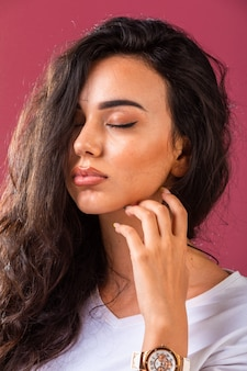 Young model in suntanned summer makeup.