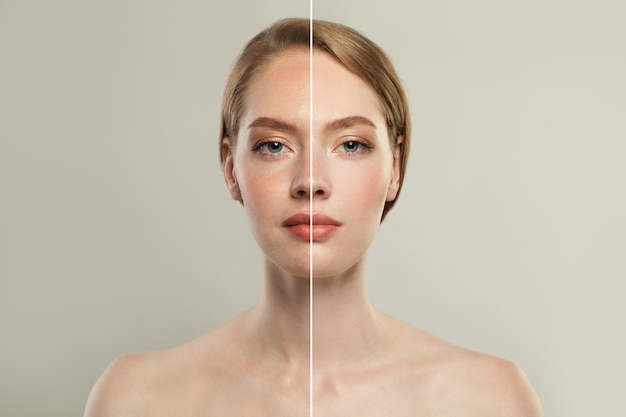 Young model woman face with retouching and without retouching.