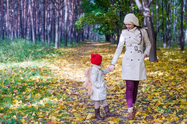 Young mother and her adorable daughter walking in yellow autumn forest on a warm sunny day
