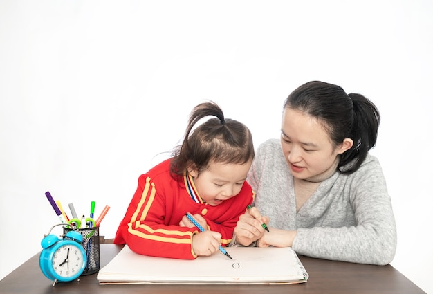 Young mother teaches daughter to paint