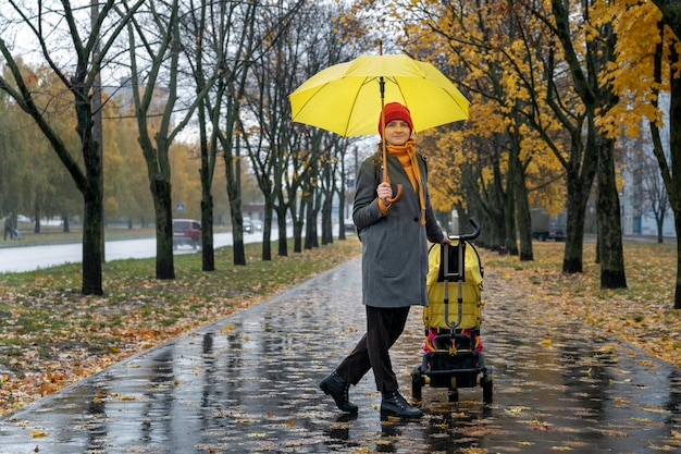 Young mother with baby carriage and yellow umbrella is walking along the alley of autumn park.