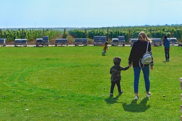 夕日の柔らかな光の中で新鮮な緑の草の中で公園を歩いている彼女の面白い娘と若い母親