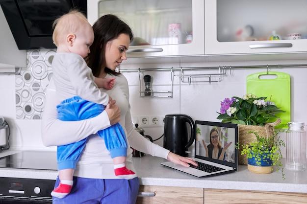 幼児を抱えた若い母親が、心理学者とオンラインで話し、ビデオ通話を行い、自宅でラップトップを使用してビデオ会議を行っています。テクノロジー、メンタルヘルス、セラピー、距離ライフスタイルのコンセプト