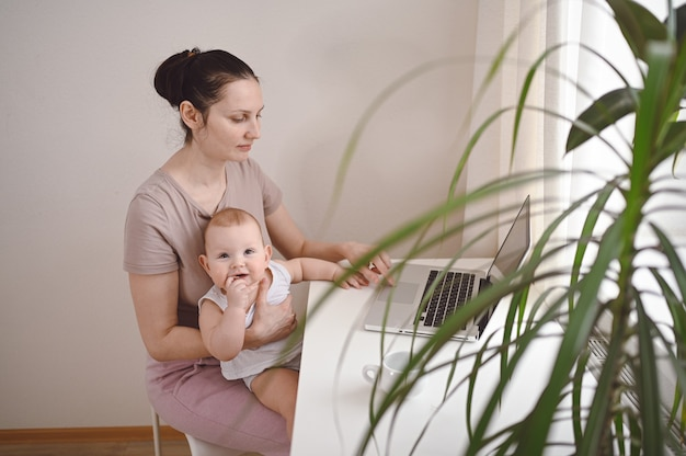 Young mother work studying from home with laptop computer, little cute toddler baby on lap.