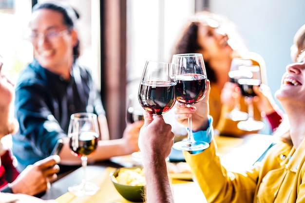Young multiethnic people drinking and toasting red wine at lunch party