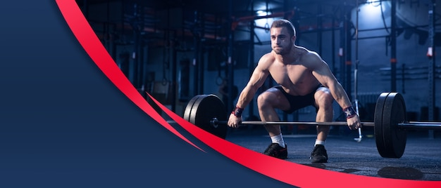 Young muscular caucasian athlete training in gym, doing strength exercises, practicing, work on his upper and lower body. fitness, wellness, healthy lifestyle concept. collage, flyer with copyspace.