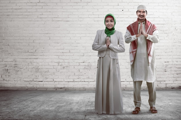 Young muslim couple smiling