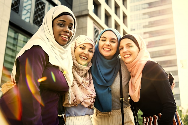 Young muslim girls laughing and having fun