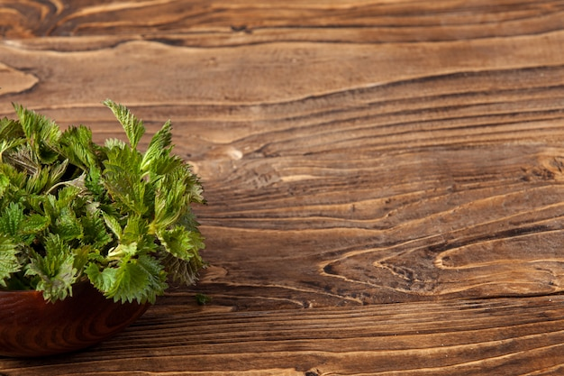 Young nettle leaves in a pot on a rustic background, stinging nettles