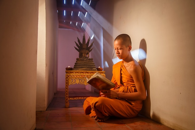 Young novice monk reading a book at ayutthaya historical park in thailand