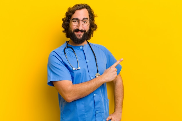 Young nurse man showing sign