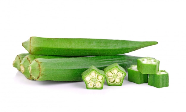 Young okra isolated on the white background