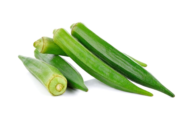 Young okra isolated on the white