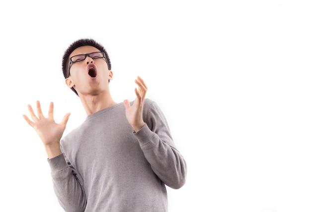 Young panic facial afraid one