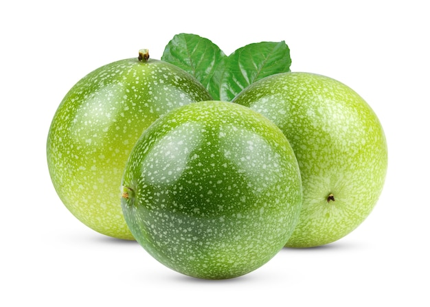 Young passion fruit isolated on white background