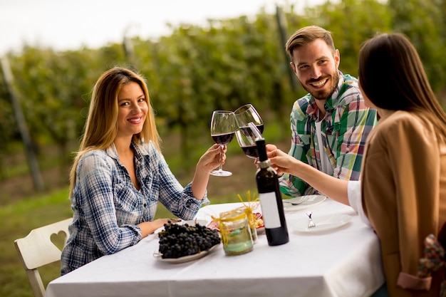 Young people by the table in the vineyard