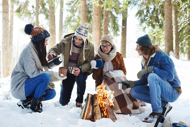 Young people camping in winter forest
