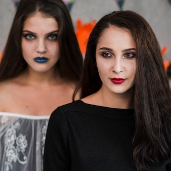 Young people celebrating halloween