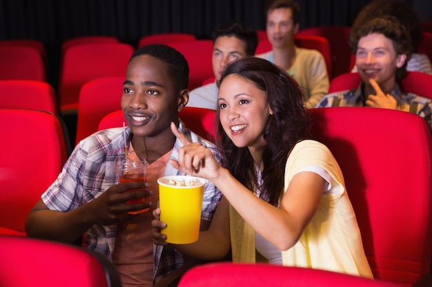 Young people watching a film