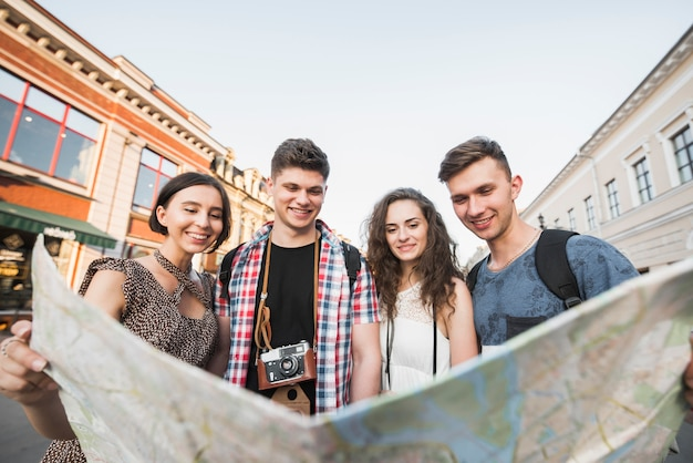 Young people with city map