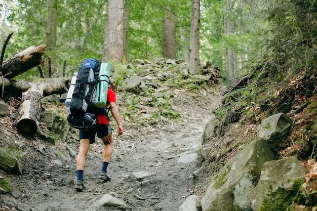 Young person hiking with a backpack in the forest