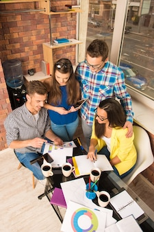 Young perspective team working with a business project