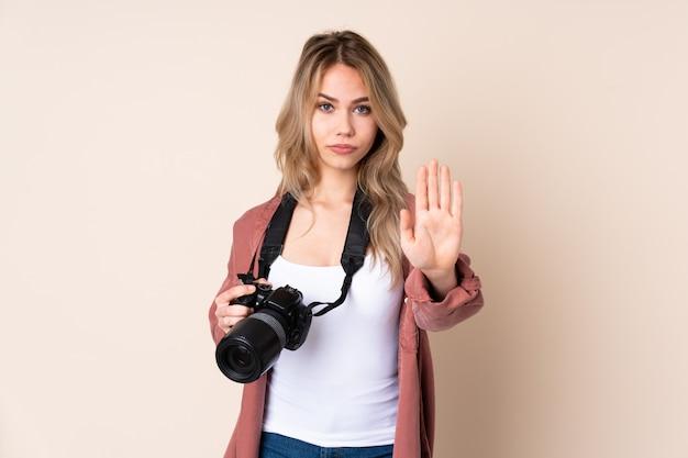 Young photographer girl