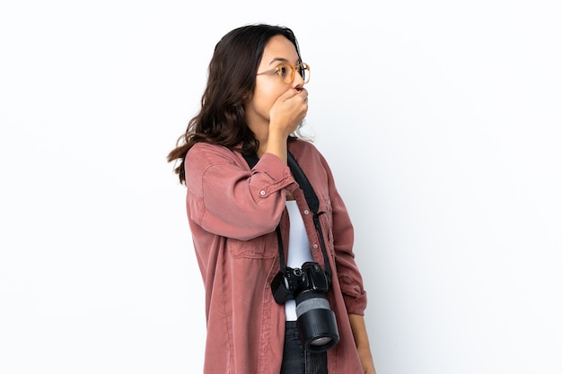 Young photographer woman