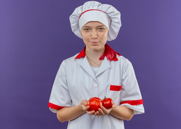 Young pleased blonde female chef in chef uniform holds tomatoes isolated on violet wall