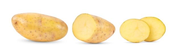 白い背景で隔離の若いジャガイモ