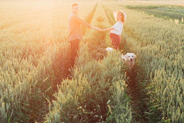 젊은 임신한 부부는 들판 한가운데에 손을 잡고 서 있고, 큰 흰색 개가 그들을 동반합니다. 임산부 . 가족과 임신. 행복과 평온. 자연과 건강.