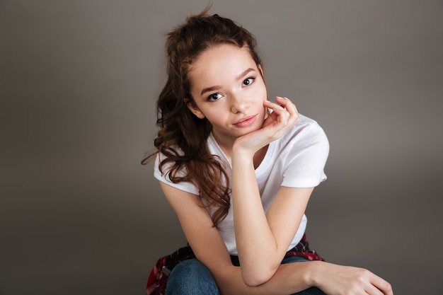 Young pretty casual teenage girl