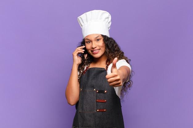 젊은 꽤 히스패닉 여자 행복하고 놀란 식 요리사 개념
