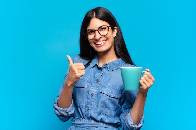 Young pretty hispanic woman having a coffee