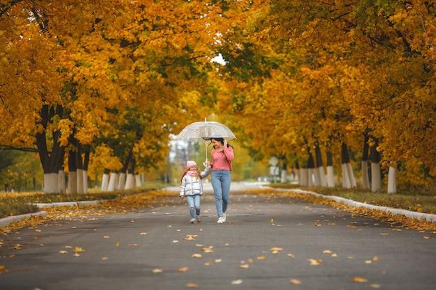 秋に楽しんでいる彼女の小さな娘を持つ若いかなり母親。秋の幸せな家族