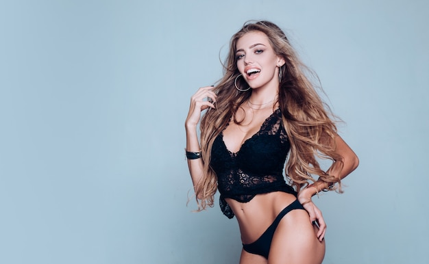 Young pretty slim woman in beautiful lace underwear luxury lifestyle and fit body concept sexy hot b...