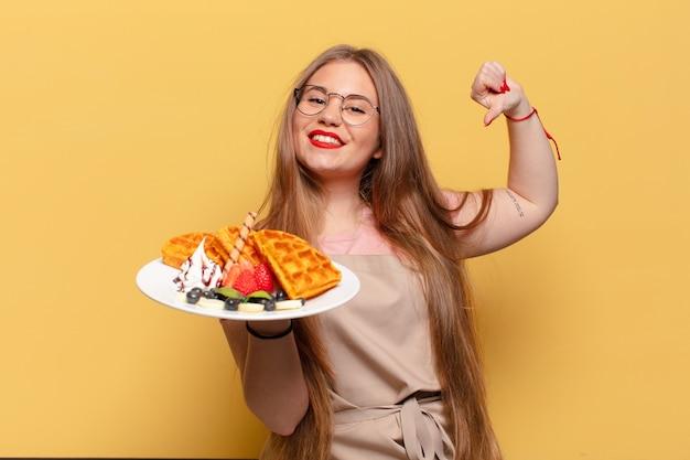 若いきれいな女性の誇らしげな表現のパン屋のコンセプト