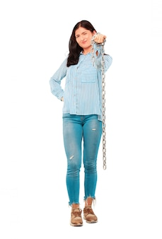 Young pretty woman with a chain. freedom concept