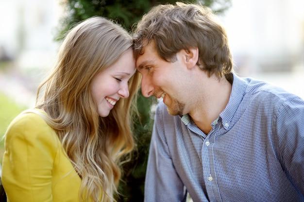 Young romantic couple, close up portrait