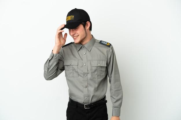 Молодой человек службы безопасности россии, изолированные на белом фоне смеясь
