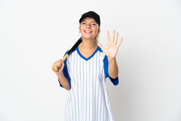 손가락으로 5 세 흰 벽에 고립 된 야구 젊은 러시아 여자
