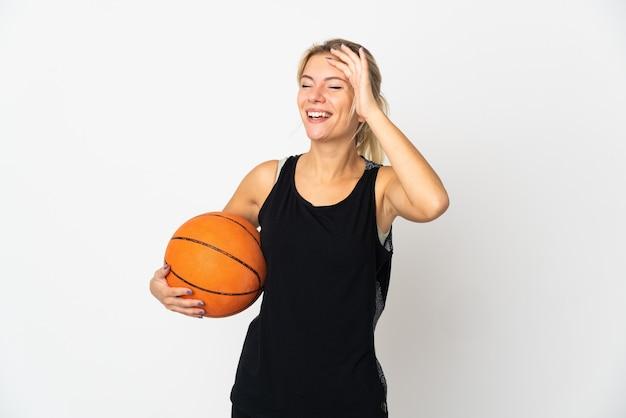 고립 된 농구 젊은 러시아 여자