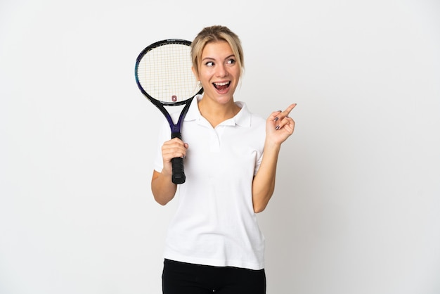 Young russian woman tennis player isolated on white intending to realizes the solution while lifting a finger up