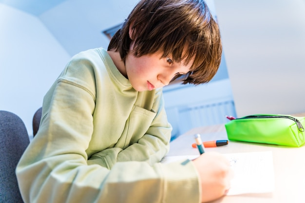 自宅のテーブルに座って宿題をしている少年。集中した子供のライティング演習。 homeschooliongコンセプト。