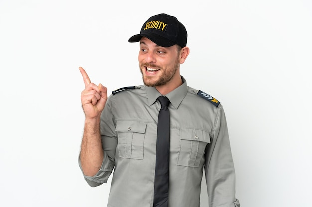 Young security brazilian man isolated on white background intending to realizes the solution while lifting a finger up