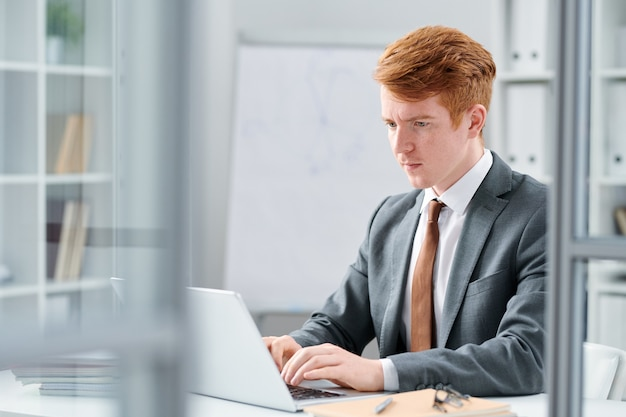 Young serious financial expert looking at online data on laptop display while working in office
